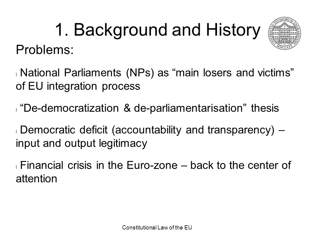 """Constitutional Law of the EU 1. Background and History Problems: National Parliaments (NPs) as """"main losers and victims"""" of EU integration process """"De"""