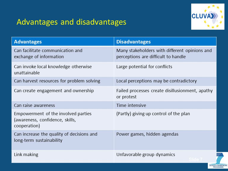 Advantages and disadvantages AdvantagesDisadvantages Can facilitate communication and exchange of information Many stakeholders with different opinion