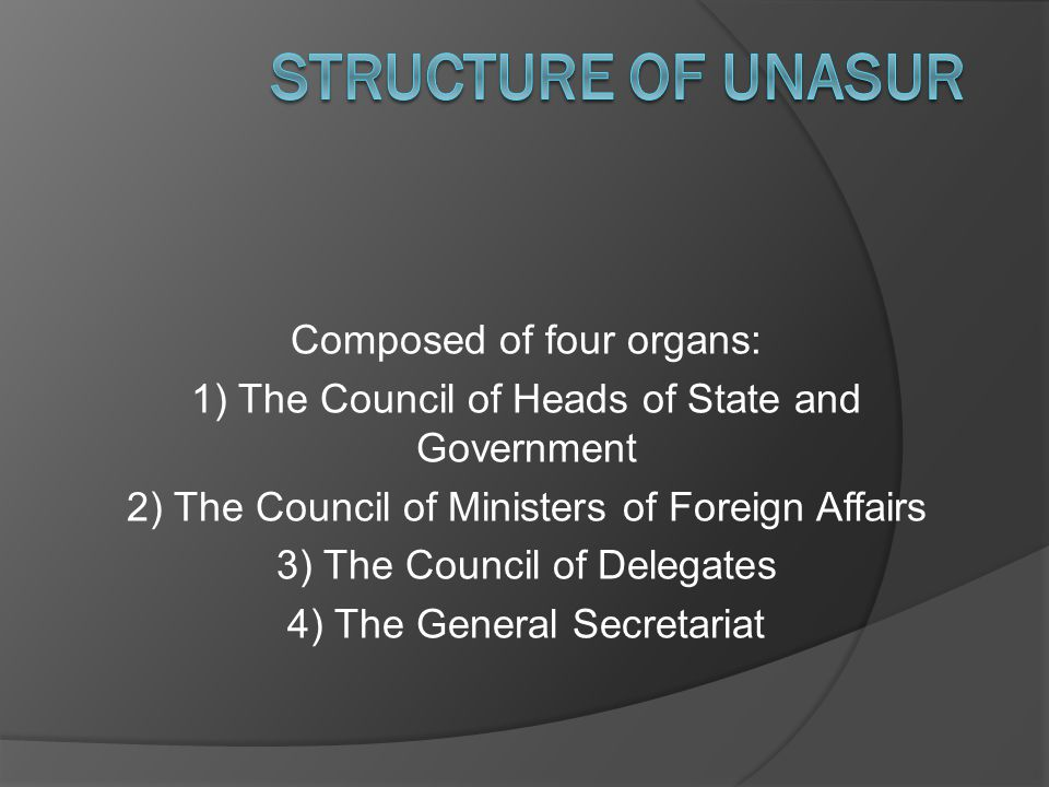 Composed of four organs: 1) The Council of Heads of State and Government 2) The Council of Ministers of Foreign Affairs 3) The Council of Delegates 4) The General Secretariat