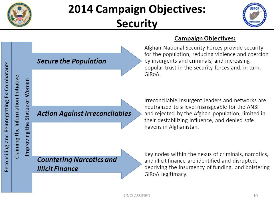 10 Campaign Objectives: Afghan National Security Forces provide security for the population, reducing violence and coercion by insurgents and criminals, and increasing popular trust in the security forces and, in turn, GIRoA.