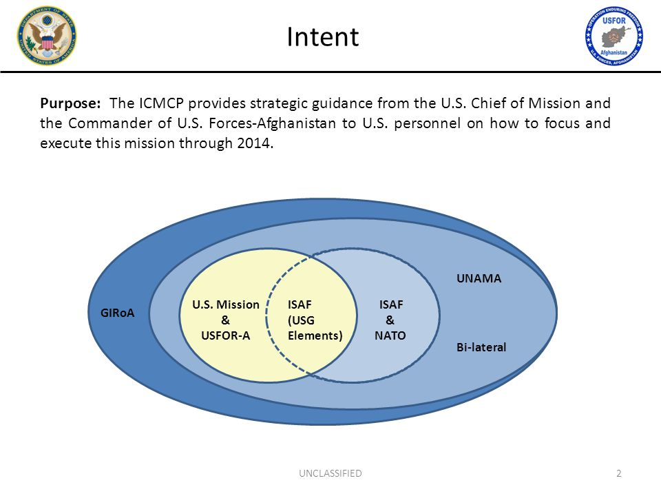 Purpose: The ICMCP provides strategic guidance from the U.S. Chief of Mission and the Commander of U.S. Forces-Afghanistan to U.S. personnel on how to
