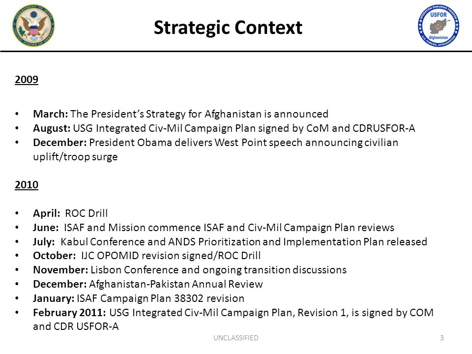 Strategic Context 2009 March: The President's Strategy for Afghanistan is announced August: USG Integrated Civ-Mil Campaign Plan signed by CoM and CDRUSFOR-A December: President Obama delivers West Point speech announcing civilian uplift/troop surge 2010 April: ROC Drill June: ISAF and Mission commence ISAF and Civ-Mil Campaign Plan reviews July: Kabul Conference and ANDS Prioritization and Implementation Plan released October: IJC OPOMID revision signed/ROC Drill November: Lisbon Conference and ongoing transition discussions December: Afghanistan-Pakistan Annual Review January: ISAF Campaign Plan 38302 revision February 2011: USG Integrated Civ-Mil Campaign Plan, Revision 1, is signed by COM and CDR USFOR-A 3UNCLASSIFIED