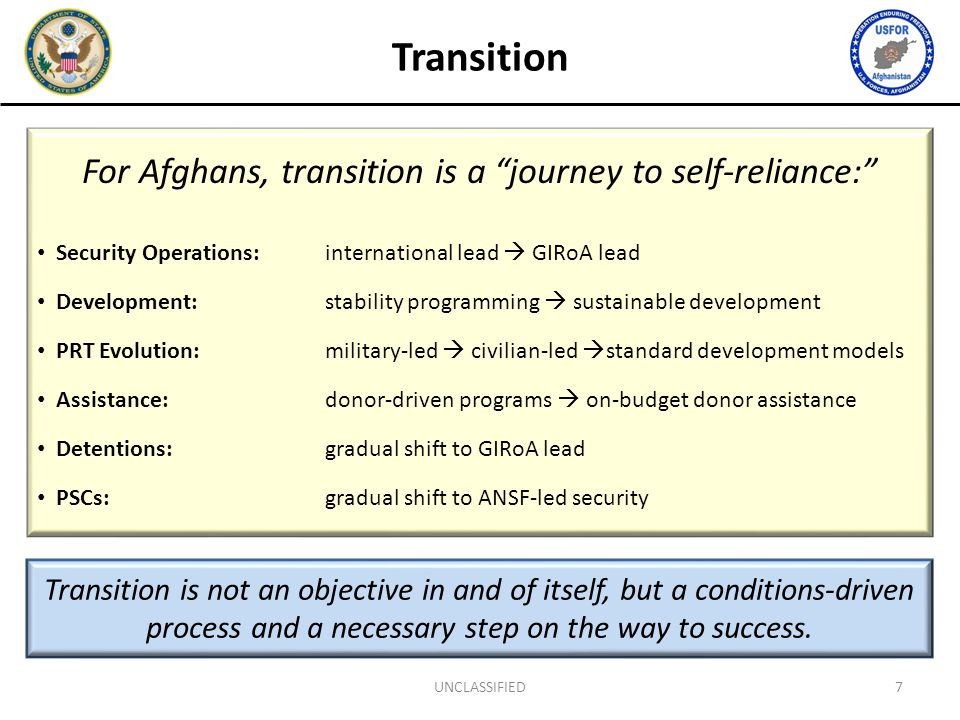 "For Afghans, transition is a ""journey to self-reliance:"" Security Operations: international lead  GIRoA lead Development: stability programming  sus"