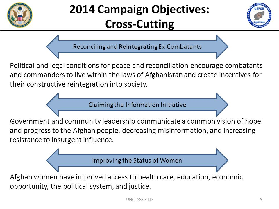 2014 Campaign Objectives: Cross-Cutting Political and legal conditions for peace and reconciliation encourage combatants and commanders to live within