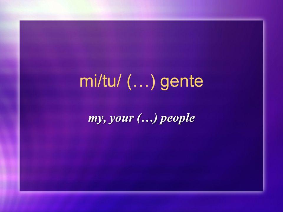 mi/tu/ (…) gente my, your (…) people