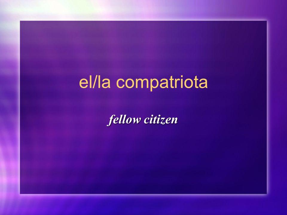 el/la compatriota fellow citizen