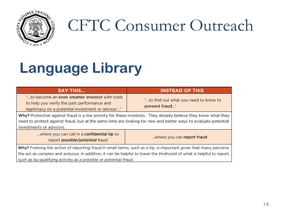 15 CFTC Consumer Outreach Language Library