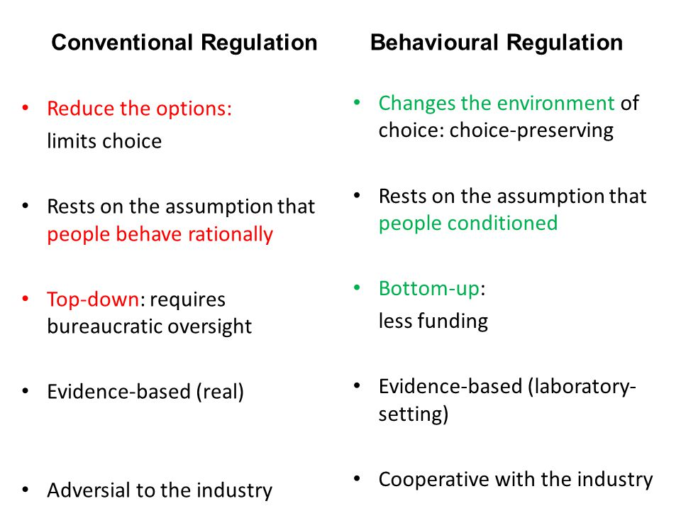 Conventional Regulation Reduce the options: limits choice Rests on the assumption that people behave rationally Top-down: requires bureaucratic oversight Evidence-based (real) Adversial to the industry Behavioural Regulation Changes the environment of choice: choice-preserving Rests on the assumption that people conditioned Bottom-up: less funding Evidence-based (laboratory- setting) Cooperative with the industry