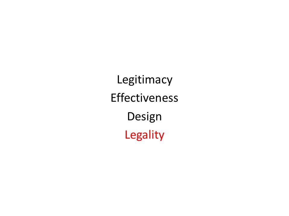 Legitimacy Effectiveness Design Legality