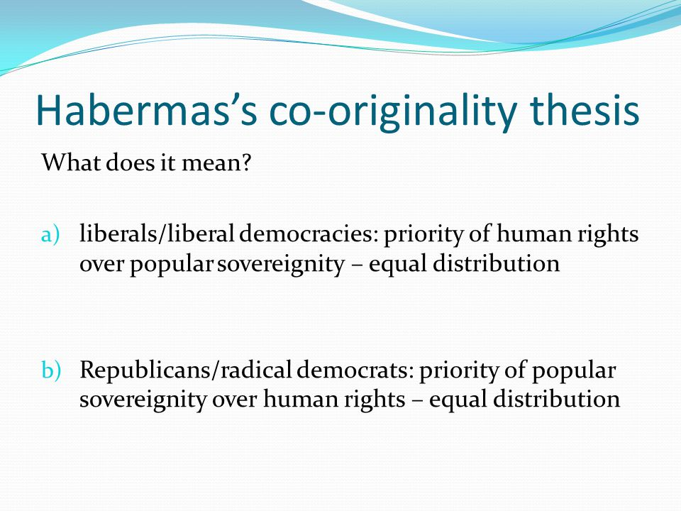 Habermas's co-originality thesis What does it mean.