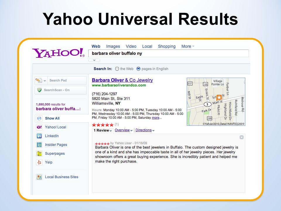 Yahoo Universal Results vav