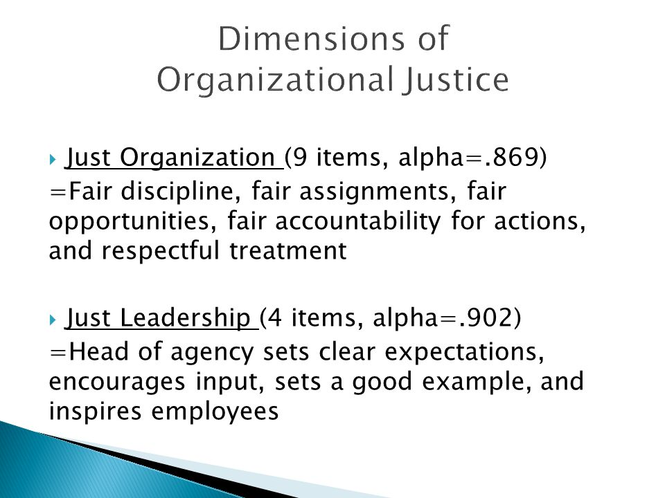 Just Organization (9 items, alpha=.869) =Fair discipline, fair assignments, fair opportunities, fair accountability for actions, and respectful treatment  Just Leadership (4 items, alpha=.902) =Head of agency sets clear expectations, encourages input, sets a good example, and inspires employees