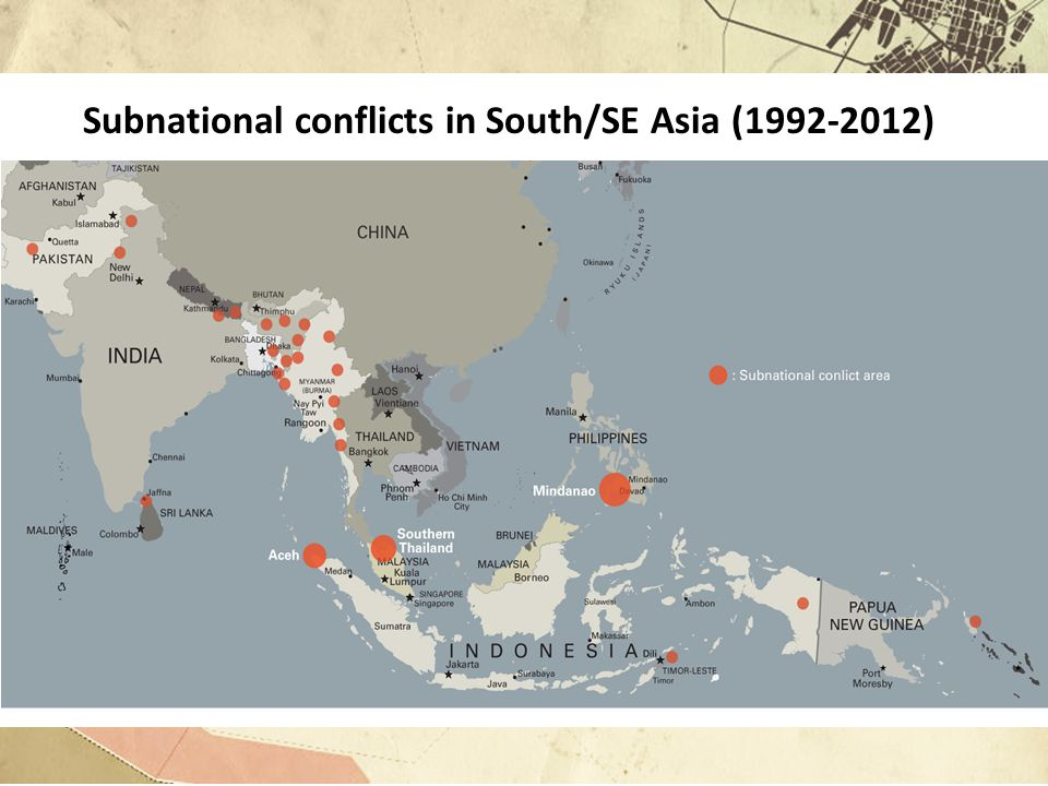 Subnational conflicts are different from fragile states Some overlap: Fragile states often have ethno-nationalist motivated conflicts in their peripheries Of the 26 SNC's in this study, only Nepal has clear overlap Fragile states in the region: Afghanistan (1979-present), Nepal (1996-2006), Timor-Leste (1999- present) and Cambodia (1970-1998) Fragile StateSubnational Conflict State CapacityWeak statesStrong and weak states Contestation fueling violence Control of central government Control of subnational territory Key areas of difference: