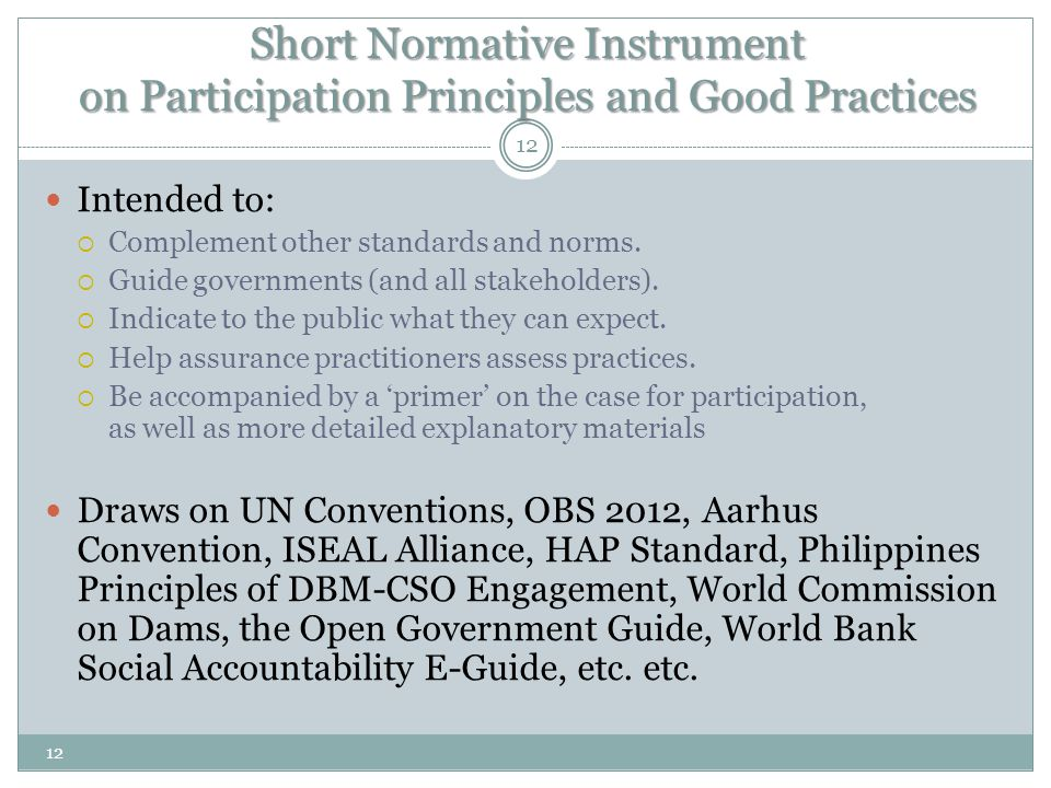Short Normative Instrument on Participation Principles and Good Practices Intended to:  Complement other standards and norms.