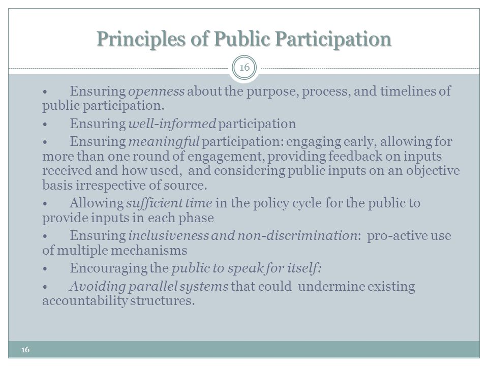 Principles of Public Participation Ensuring openness about the purpose, process, and timelines of public participation.