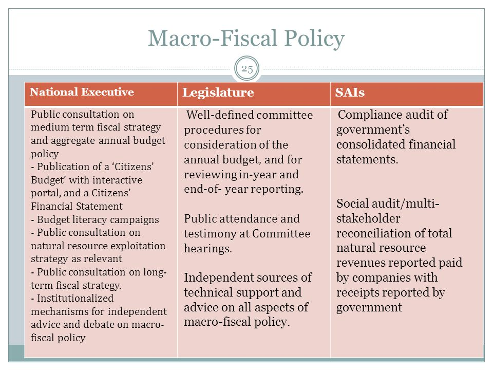 Macro-Fiscal Policy 25 National Executive LegislatureSAIs Public consultation on medium term fiscal strategy and aggregate annual budget policy - Publication of a 'Citizens' Budget' with interactive portal, and a Citizens' Financial Statement - Budget literacy campaigns - Public consultation on natural resource exploitation strategy as relevant - Public consultation on long- term fiscal strategy.