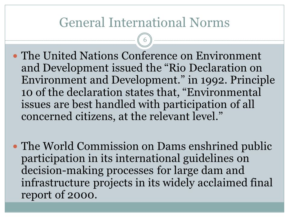 General International Norms 6 The United Nations Conference on Environment and Development issued the Rio Declaration on Environment and Development. in 1992.
