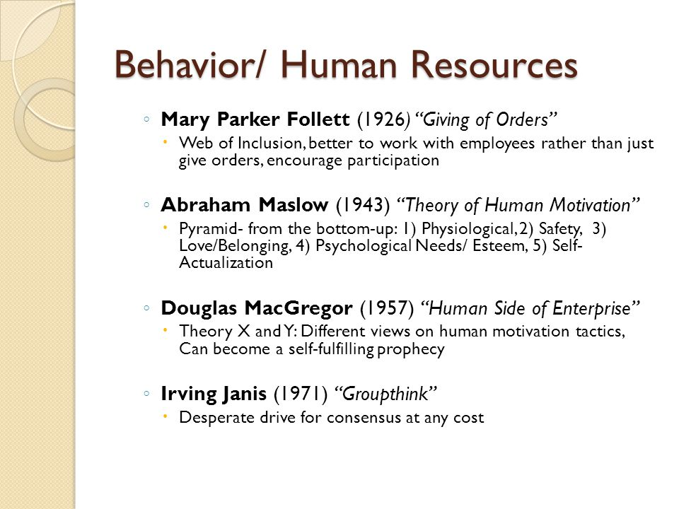 """Behavior/ Human Resources ◦ Mary Parker Follett (1926) """"Giving of Orders""""  Web of Inclusion, better to work with employees rather than just give orde"""