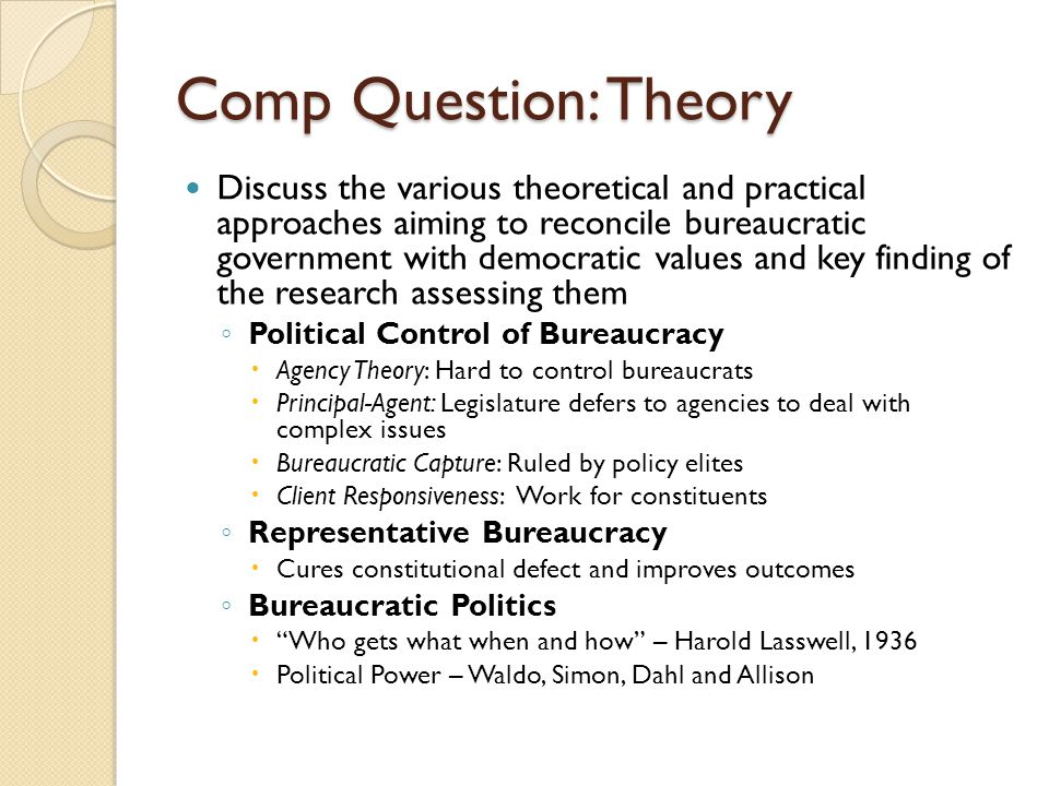 Comp Question: Theory Discuss the various theoretical and practical approaches aiming to reconcile bureaucratic government with democratic values and