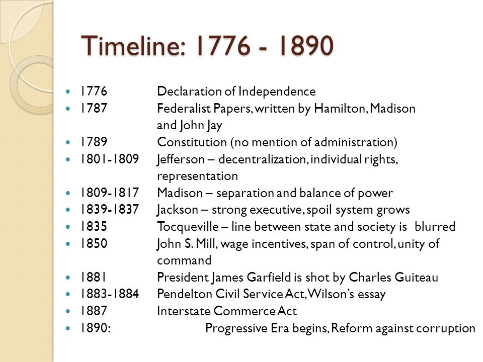 Timeline: 1776 - 1890 1776Declaration of Independence 1787Federalist Papers, written by Hamilton, Madison and John Jay 1789Constitution (no mention of