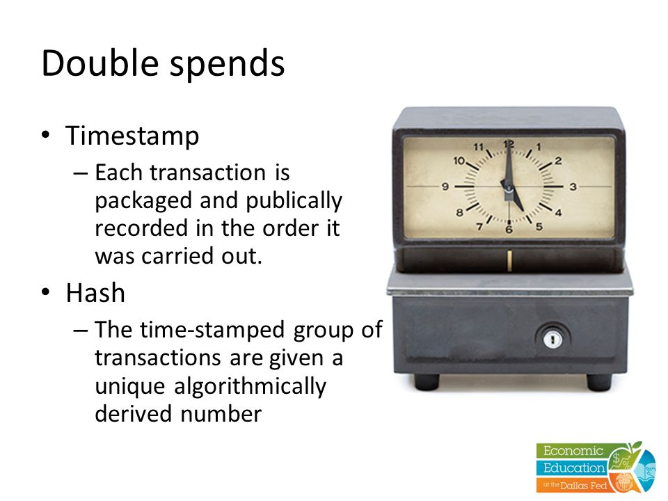 Double spends Timestamp – Each transaction is packaged and publically recorded in the order it was carried out. Hash – The time-stamped group of trans