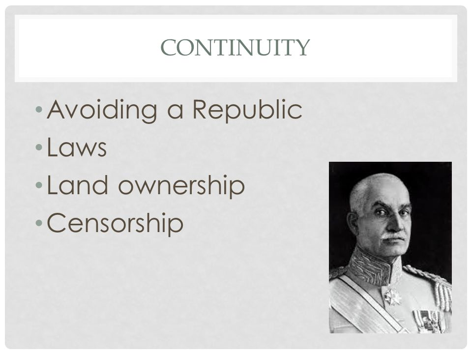 CONTINUITY Avoiding a Republic Laws Land ownership Censorship
