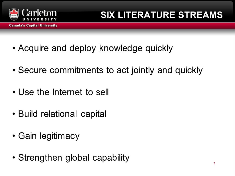 7 page 7 SIX LITERATURE STREAMS Acquire and deploy knowledge quickly Secure commitments to act jointly and quickly Use the Internet to sell Build relational capital Gain legitimacy Strengthen global capability
