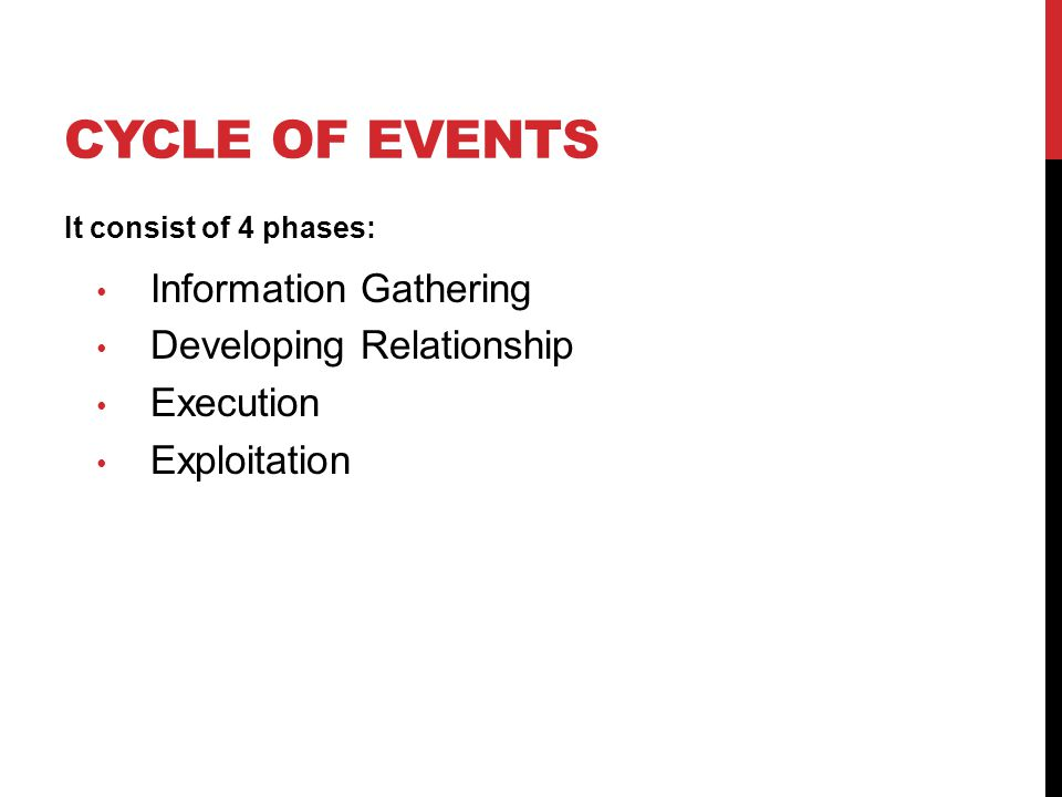 CYCLE OF EVENTS It consist of 4 phases: Information Gathering Developing Relationship Execution Exploitation