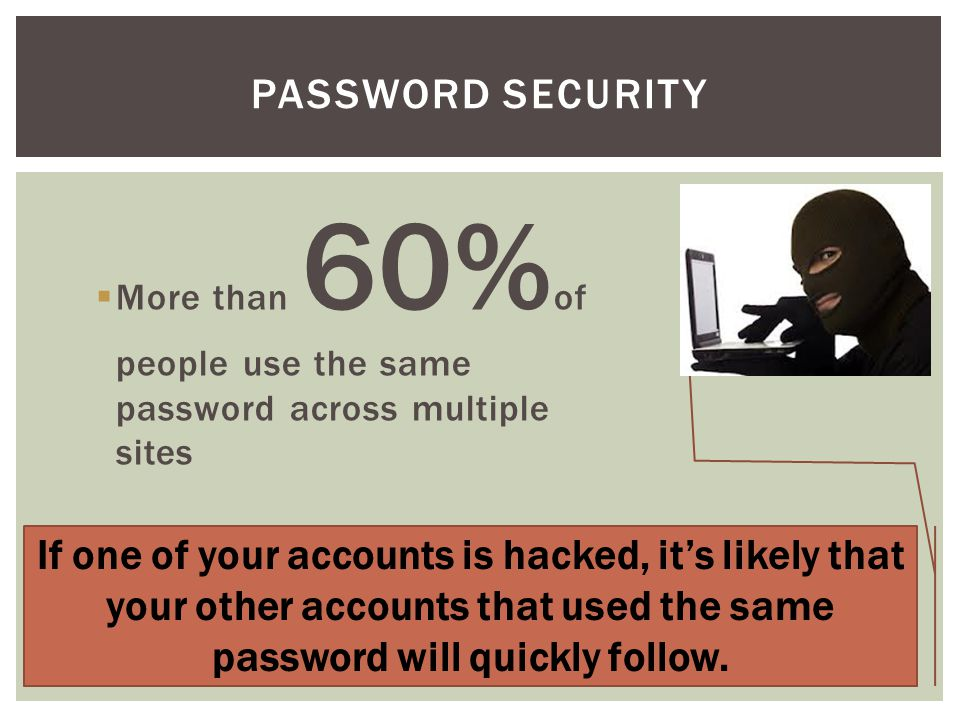 If one of your accounts is hacked, it's likely that your other accounts that used the same password will quickly follow.