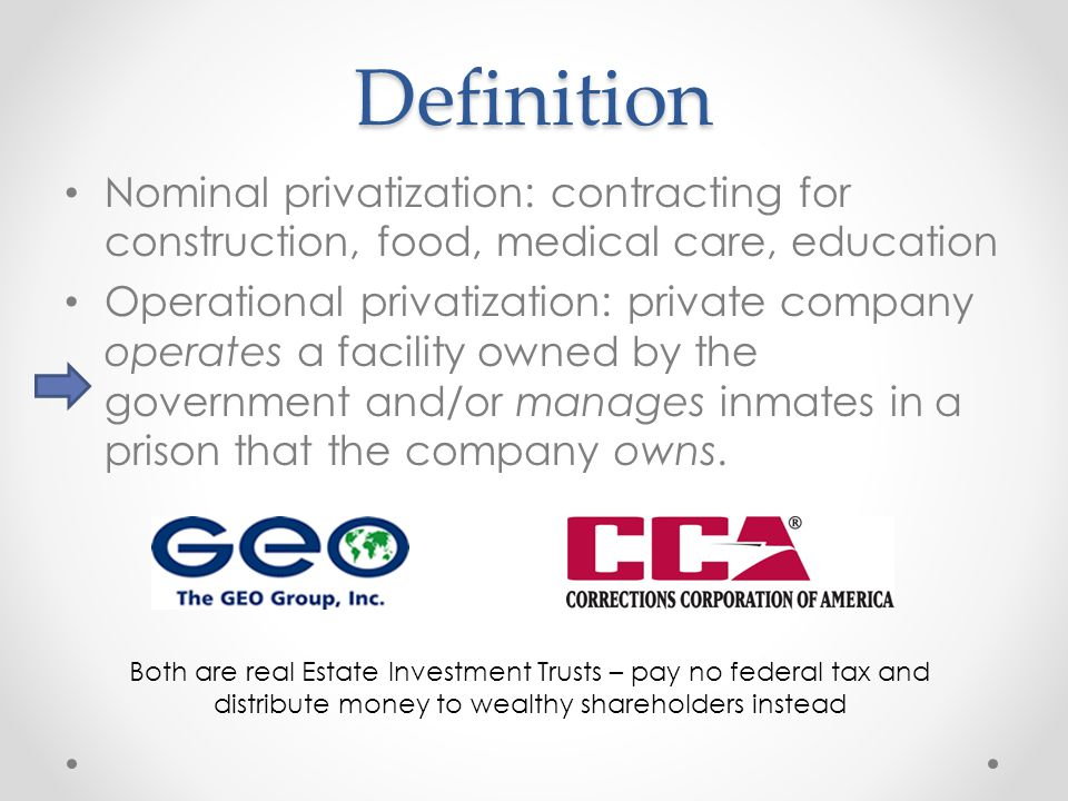 Definition Nominal privatization: contracting for construction, food, medical care, education Operational privatization: private company operates a fa