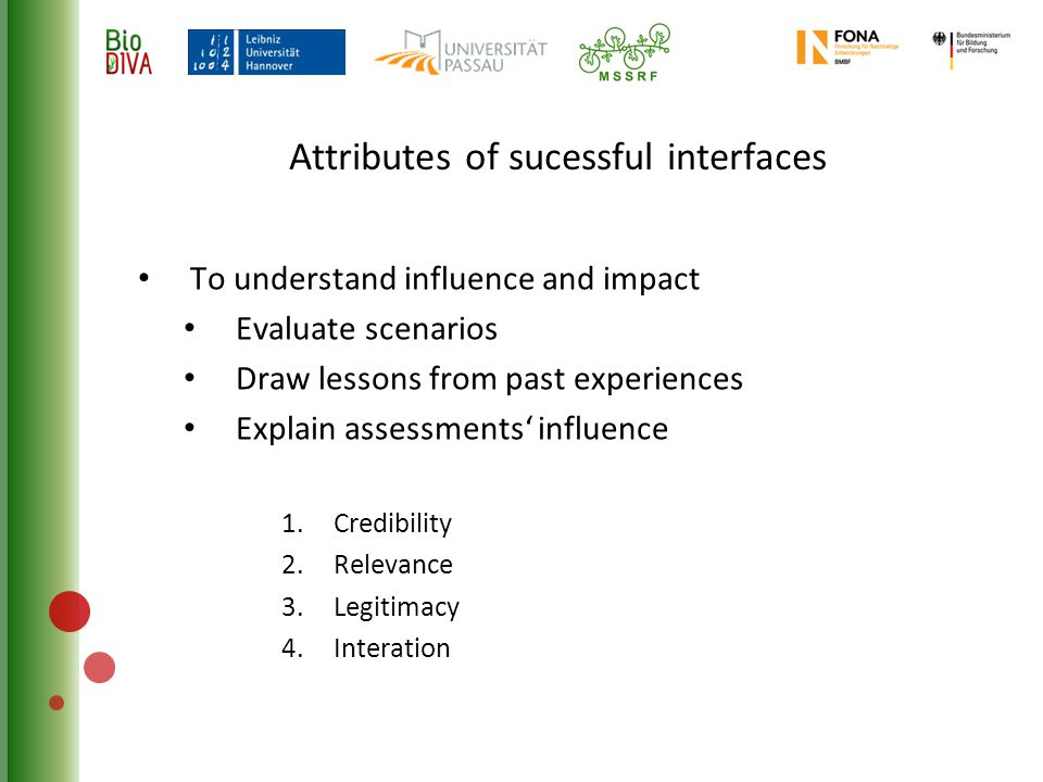 Attributes of sucessful interfaces To understand influence and impact Evaluate scenarios Draw lessons from past experiences Explain assessments' influence 1.Credibility 2.Relevance 3.Legitimacy 4.Interation