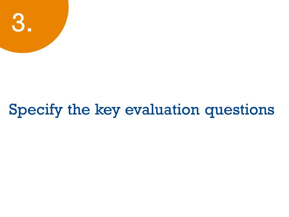 Specify the key evaluation questions 3.