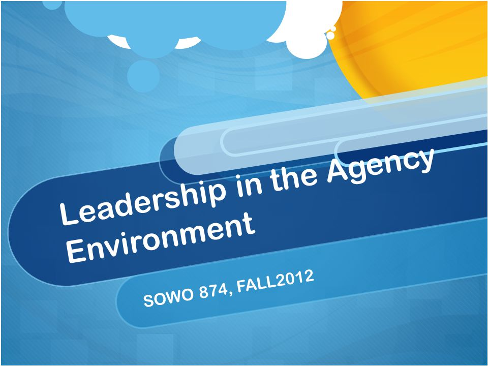 Leadership in the Agency Environment SOWO 874, FALL2012