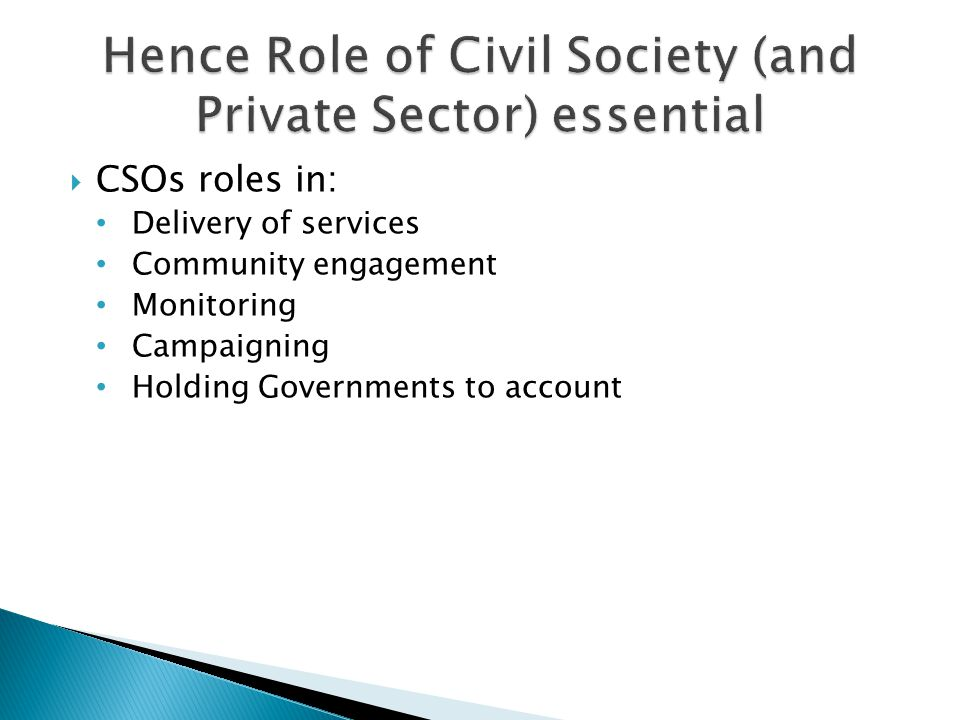  CSOs roles in: Delivery of services Community engagement Monitoring Campaigning Holding Governments to account