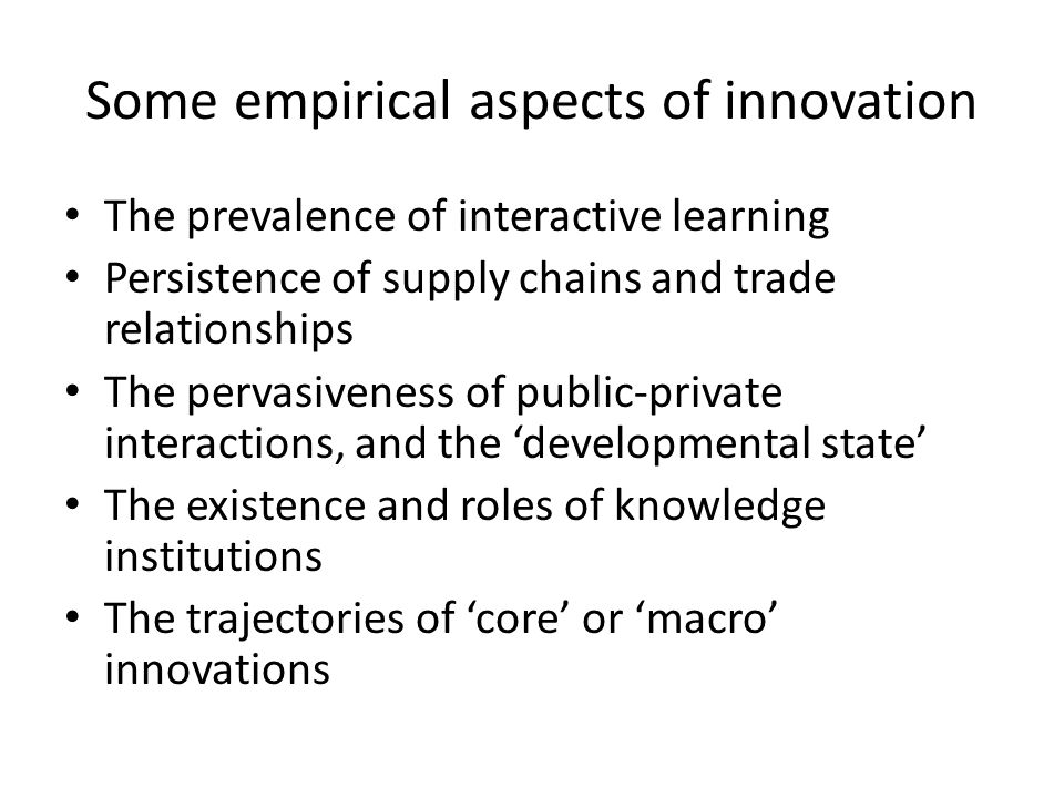 'Macro' innovations – where do they come from Railroads, shipping, etc The modern era – computing, pharma, large commerical aircraft, jet transport, digital telecoms, space-based communications, GPS, the mobile telephone, health innovations (lenses) The pattern here is interactive.