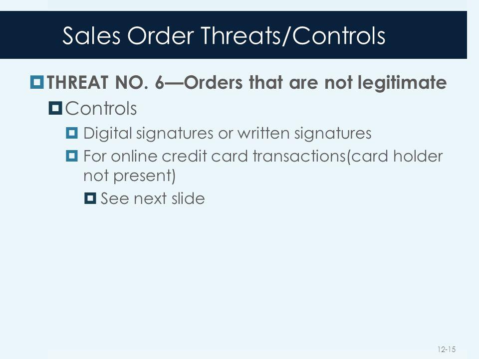 Sales Order Threats/Controls  THREAT NO. 6—Orders that are not legitimate  Controls  Digital signatures or written signatures  For online credit c