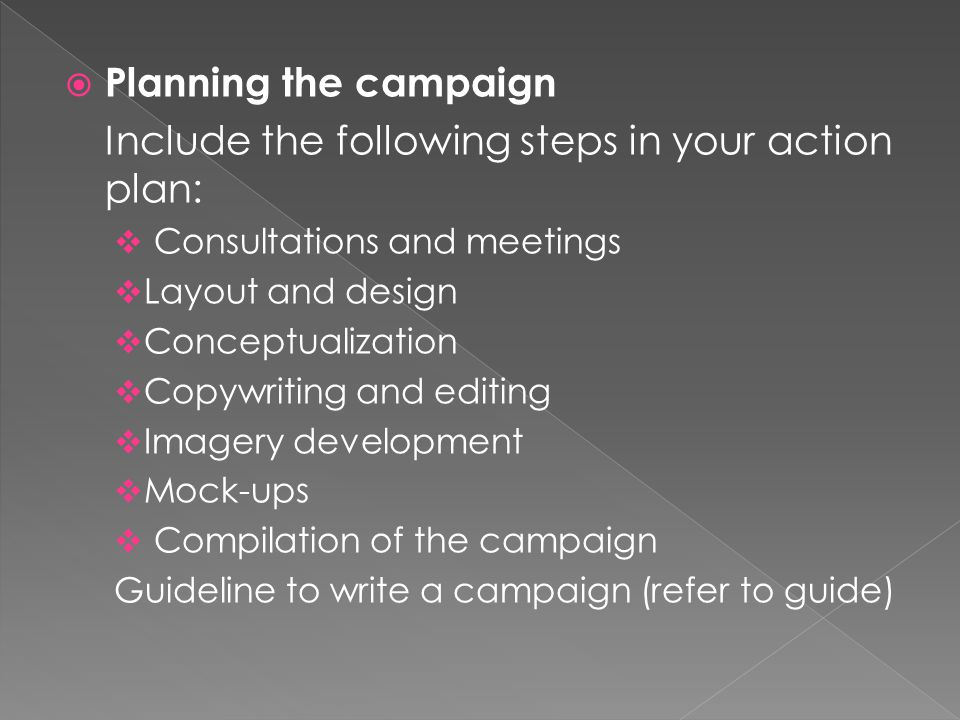  Planning the campaign Include the following steps in your action plan:  Consultations and meetings  Layout and design  Conceptualization  Copywriting and editing  Imagery development  Mock-ups  Compilation of the campaign Guideline to write a campaign (refer to guide)