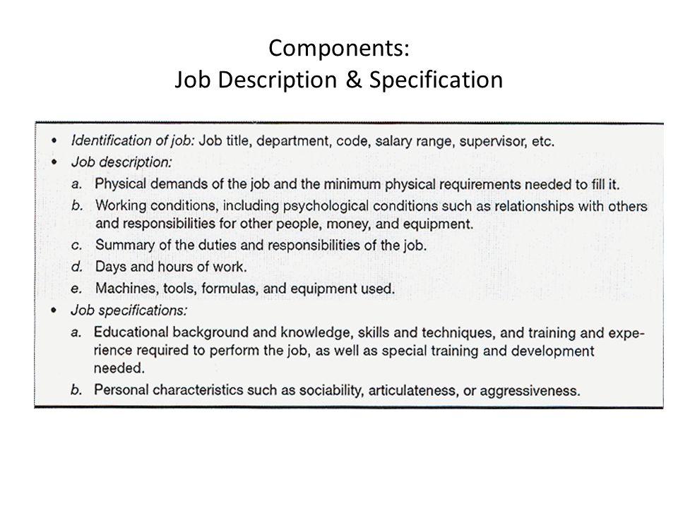 Components: Job Description & Specification