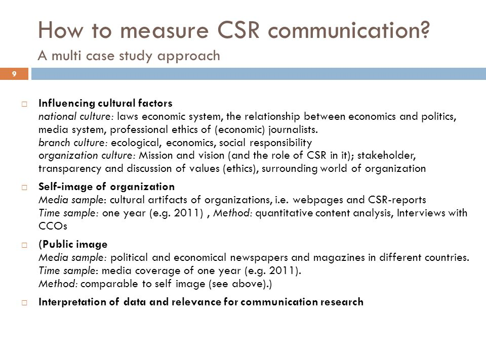 10 How to measure CSR communication? A multi case study approach: cultural influences