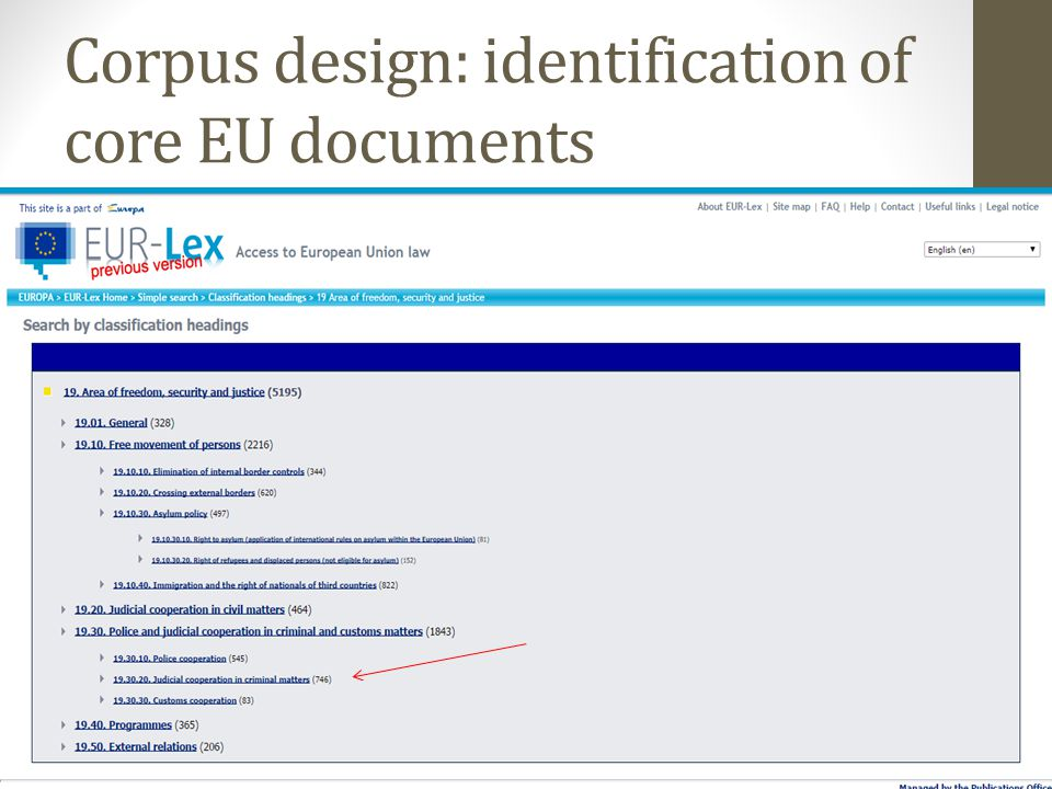 Corpus design: identification of core EU documents 20