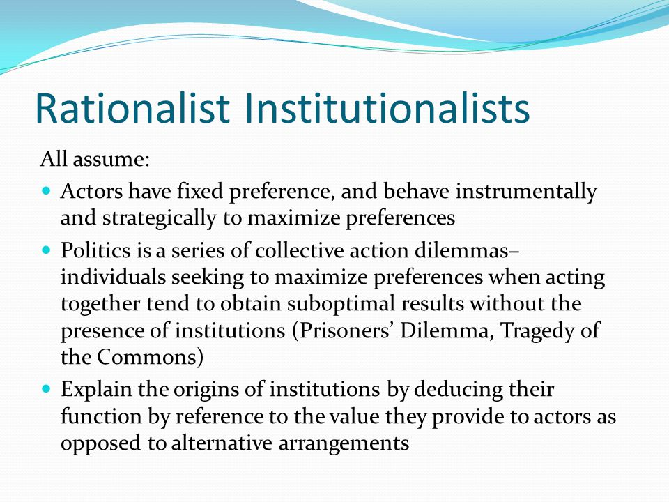 DI and Sociological Institutionalism Those who use DI use emphasis on ideas and structures to talk about leaders, communities, coalitions as actors who not only use institutions as frames of interpretation, but also as the groundwork for reinterpretation of the world and for the culture of norms and procedures that is currently in place.