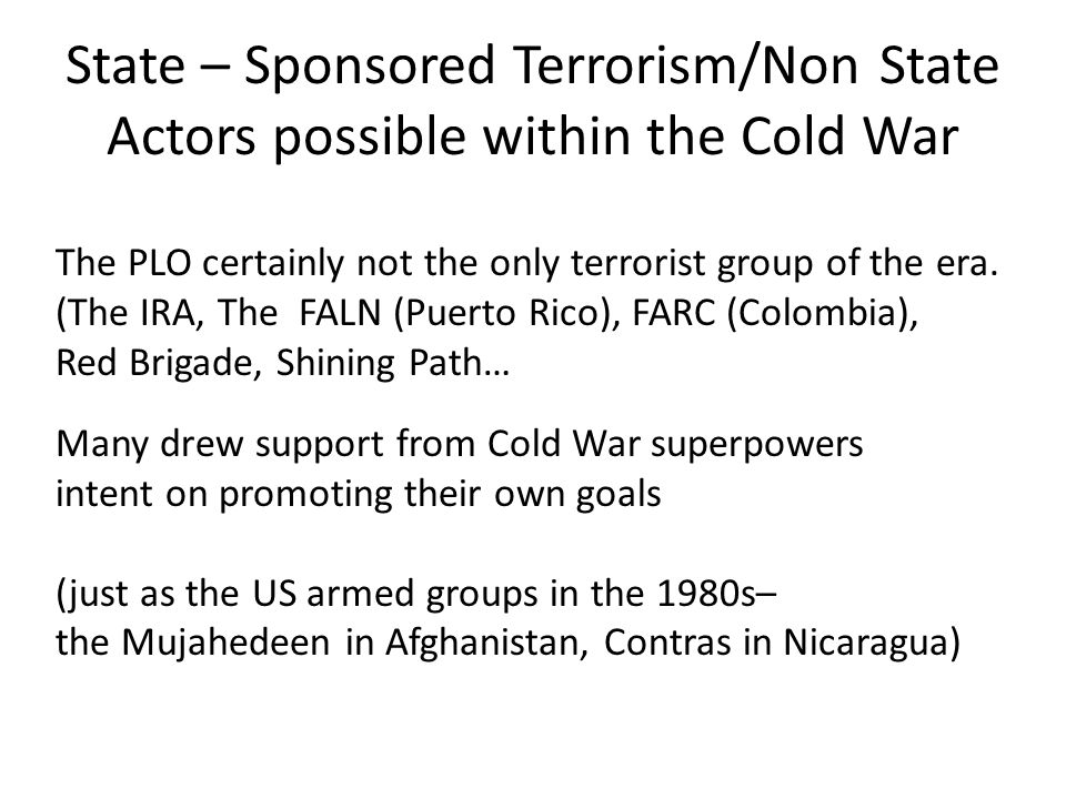 State – Sponsored Terrorism/Non State Actors possible within the Cold War The PLO certainly not the only terrorist group of the era.