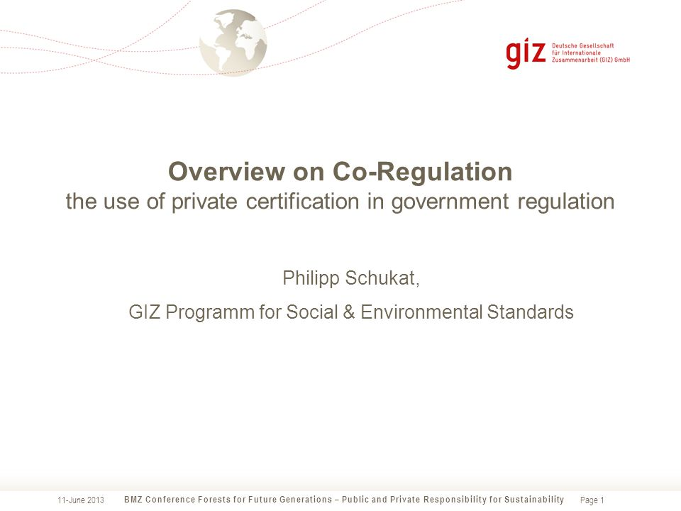 Page 1 Overview on Co-Regulation the use of private certification in government regulation BMZ Conference Forests for Future Generations – Public and