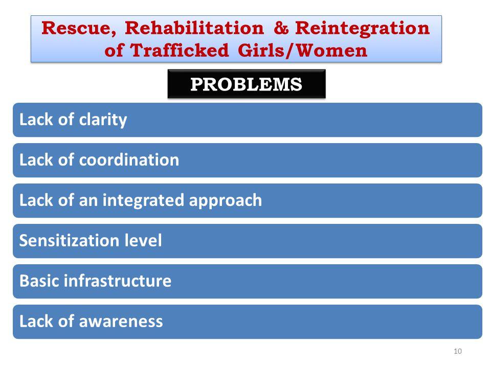 10 PROBLEMS Rescue, Rehabilitation & Reintegration of Trafficked Girls/Women