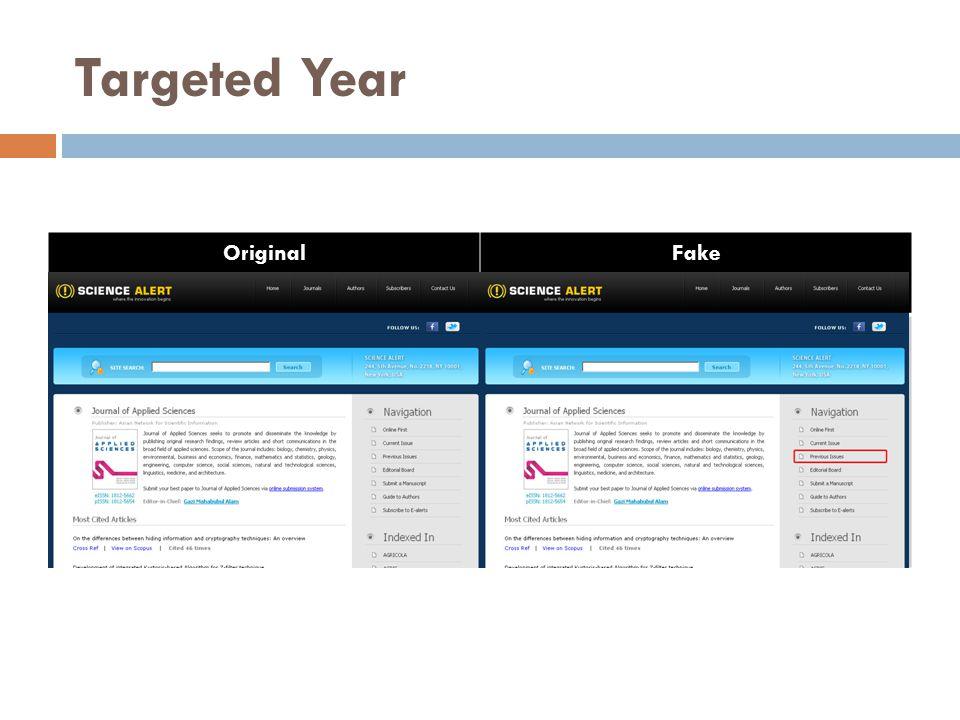 Targeted Year OriginalFake