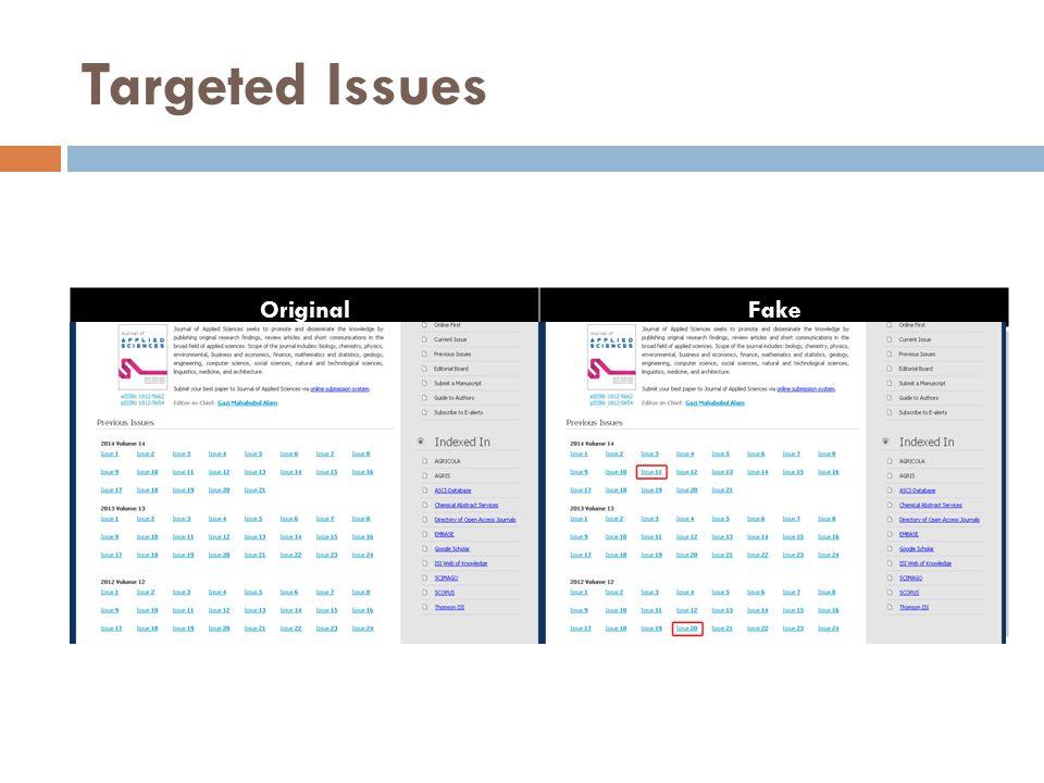 Targeted Issues OriginalFake