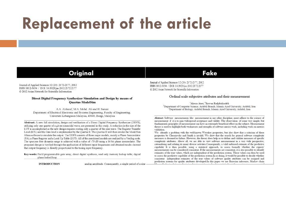 Replacement of the article OriginalFake