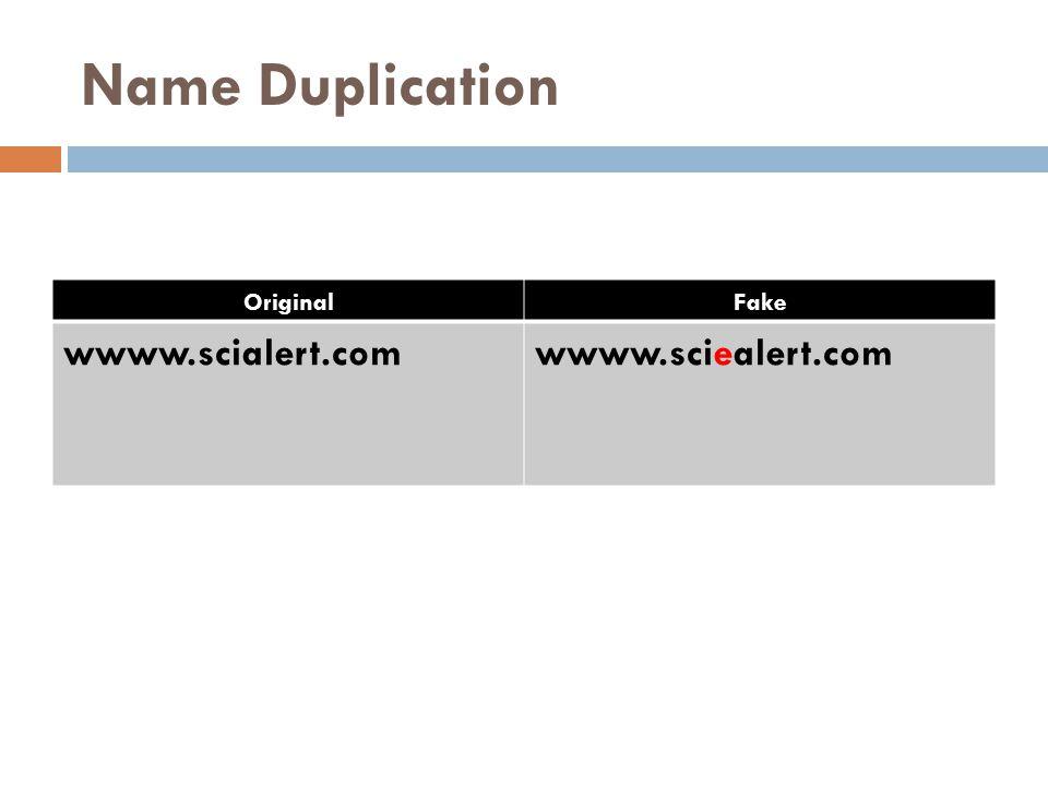 Name Duplication OriginalFake wwww.scialert.comwwww.sciealert.com