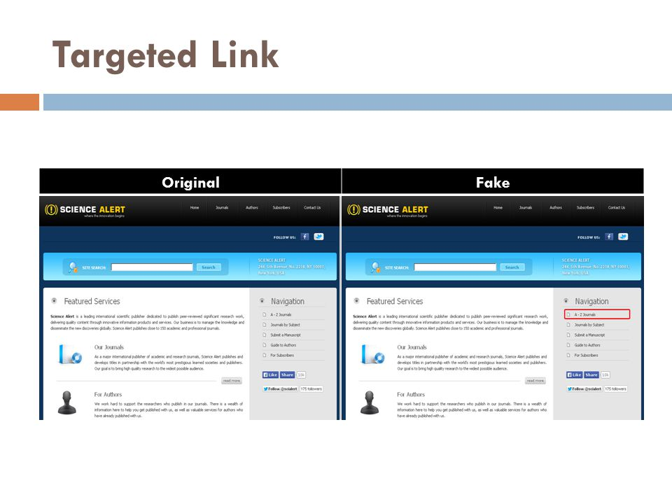 Targeted Link OriginalFake
