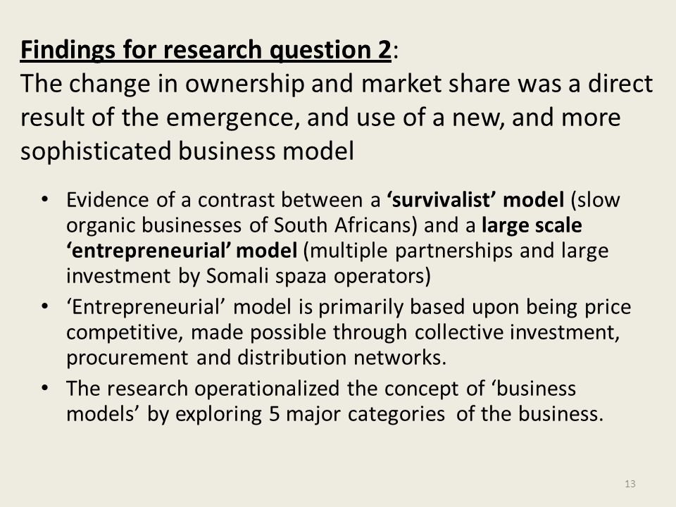 Findings for research question 2: The change in ownership and market share was a direct result of the emergence, and use of a new, and more sophistica